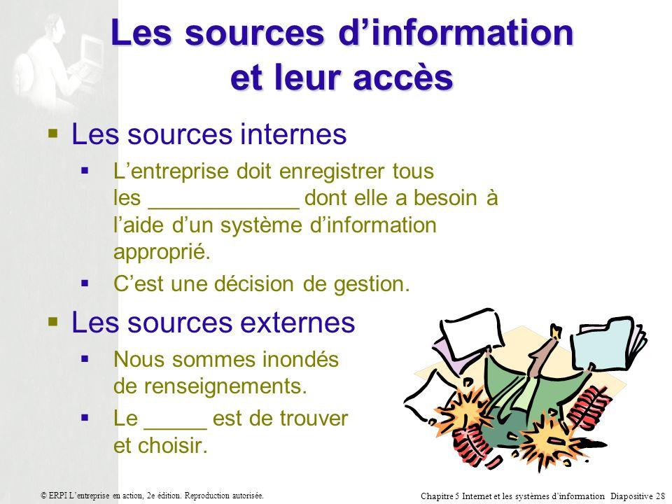 Les sources d'information et leur accès