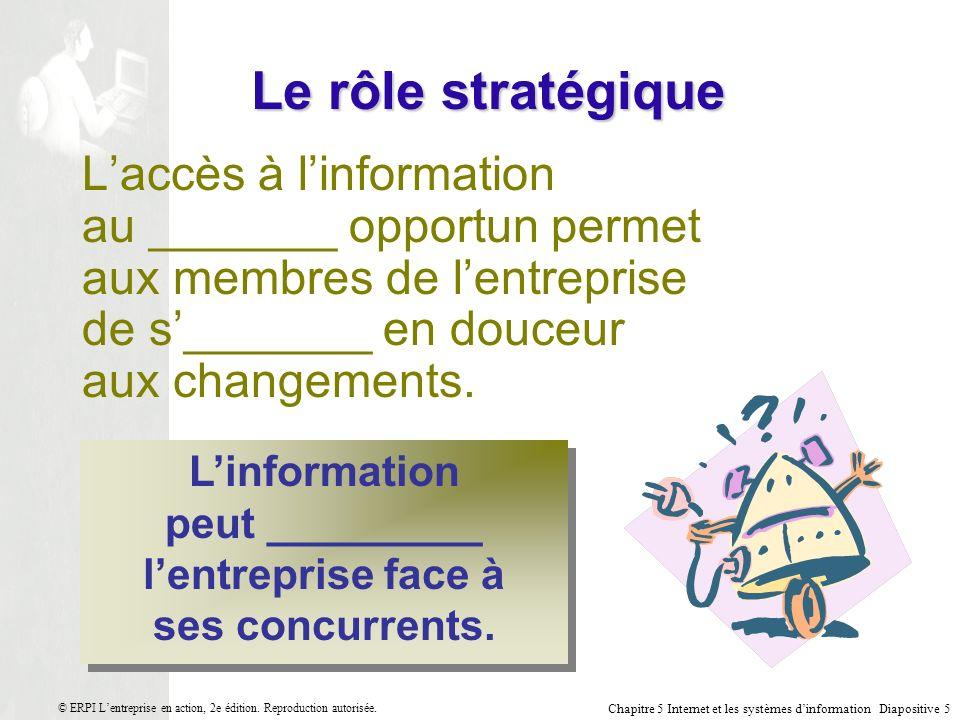 L'information peut _________ l'entreprise face à ses concurrents.