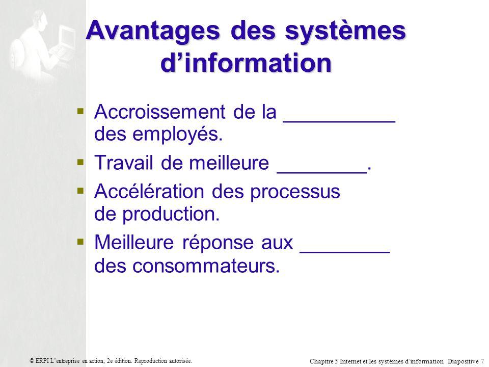Avantages des systèmes d'information