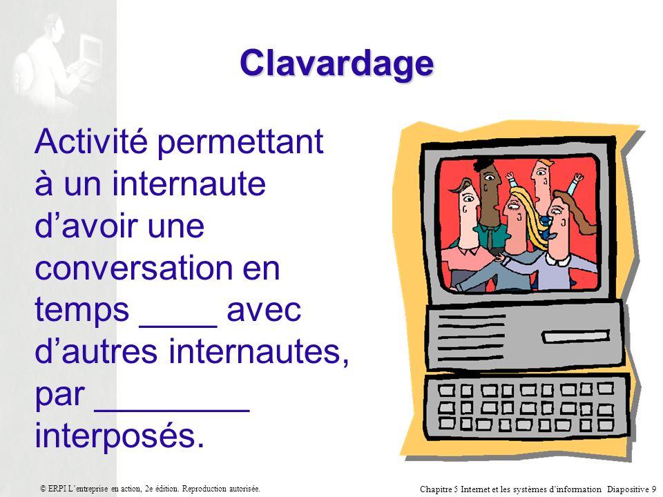 Clavardage Activité permettant à un internaute d'avoir une conversation en temps ____ avec d'autres internautes, par ________ interposés.