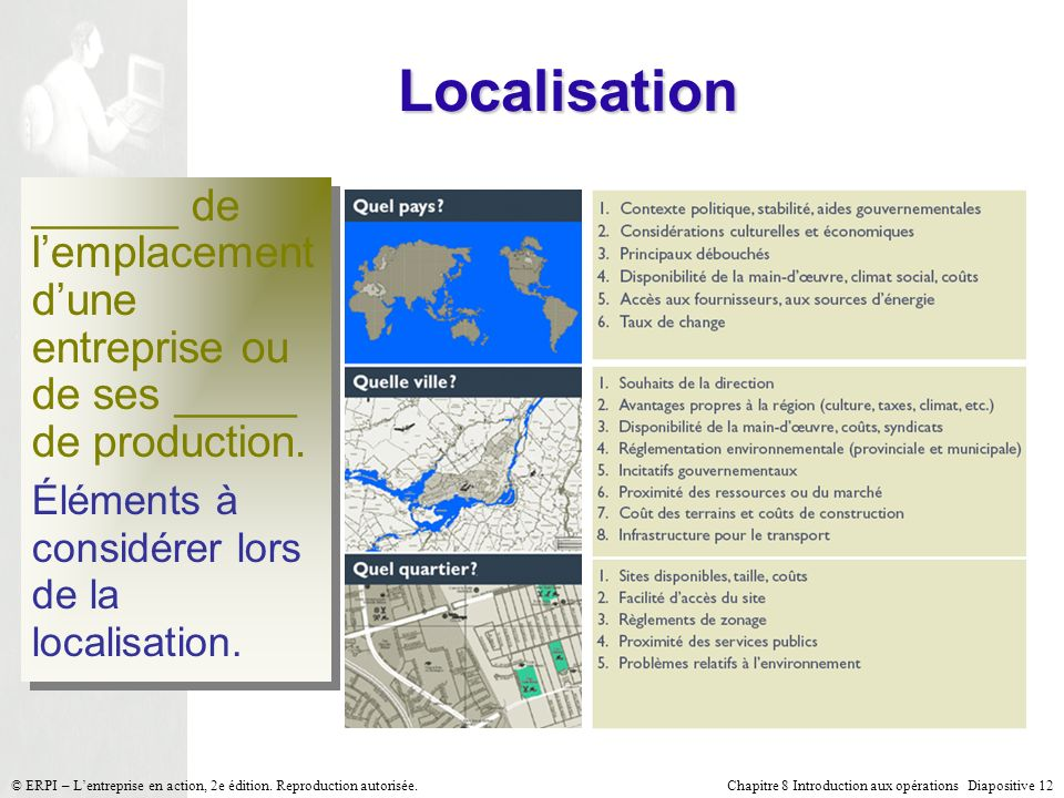 Localisation______ de l'emplacement d'une entreprise ou de ses _____ de production. Éléments à considérer lors de la localisation.