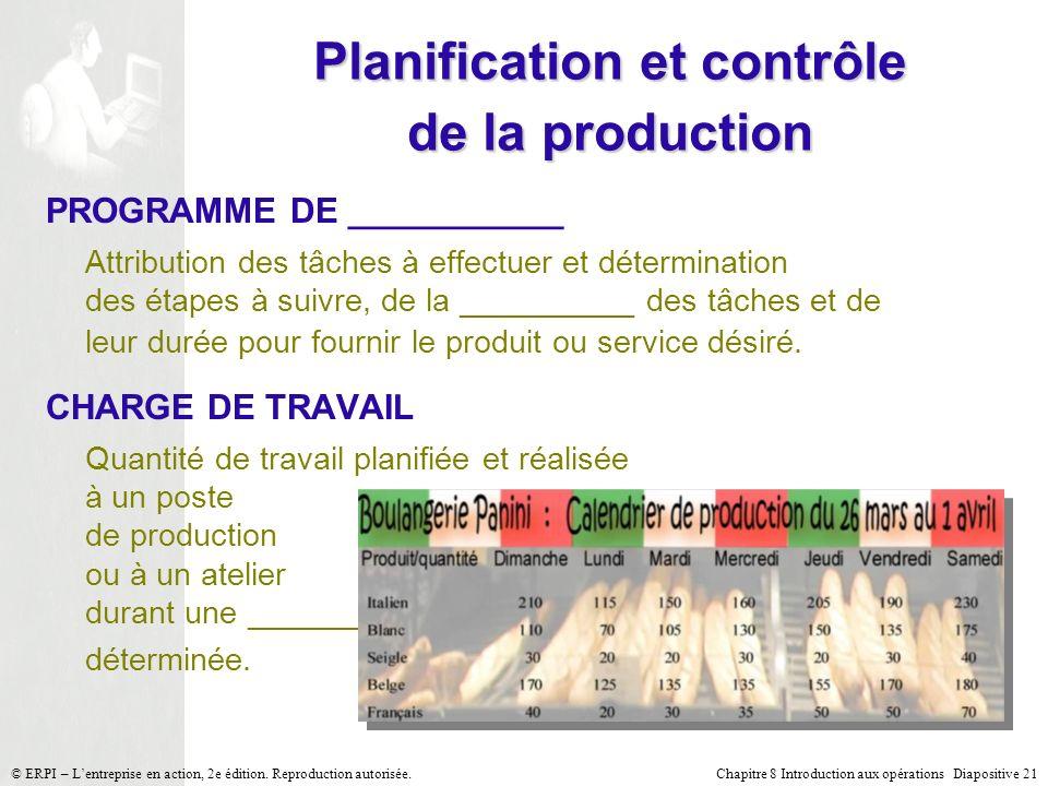 Planification et contrôle de la production
