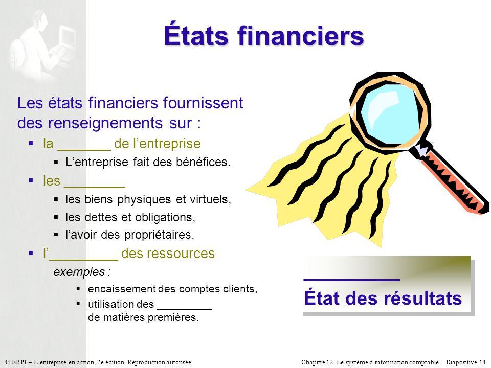 États financiers _________ État des résultats