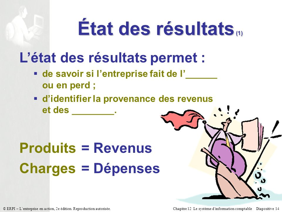 État des résultats (1) L'état des résultats permet :
