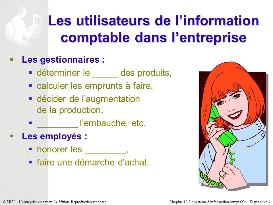 Les utilisateurs de l'information comptable dans l'entreprise