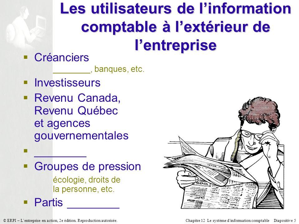 Les utilisateurs de l'information comptable à l'extérieur de l'entreprise