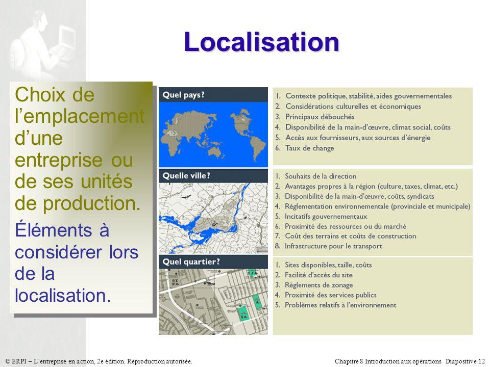 Localisation Choix de l'emplacement d'une entreprise ou de ses unités de production. Éléments à considérer lors de la localisation.