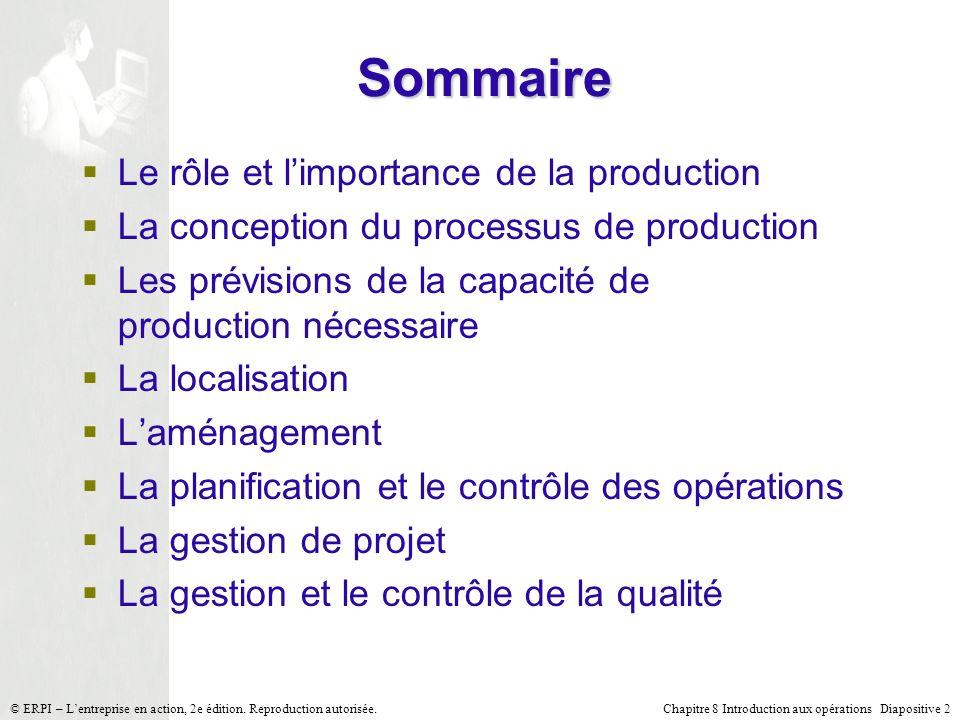 Sommaire Le rôle et l'importance de la production
