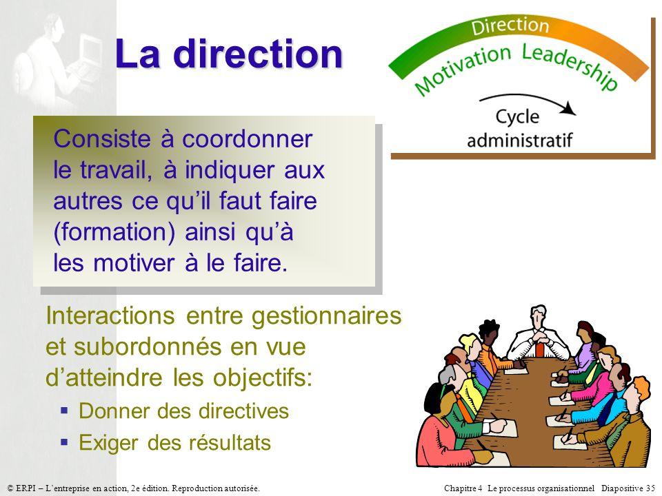 La direction Consiste à coordonner le travail, à indiquer aux autres ce qu'il faut faire (formation) ainsi qu'à les motiver à le faire.