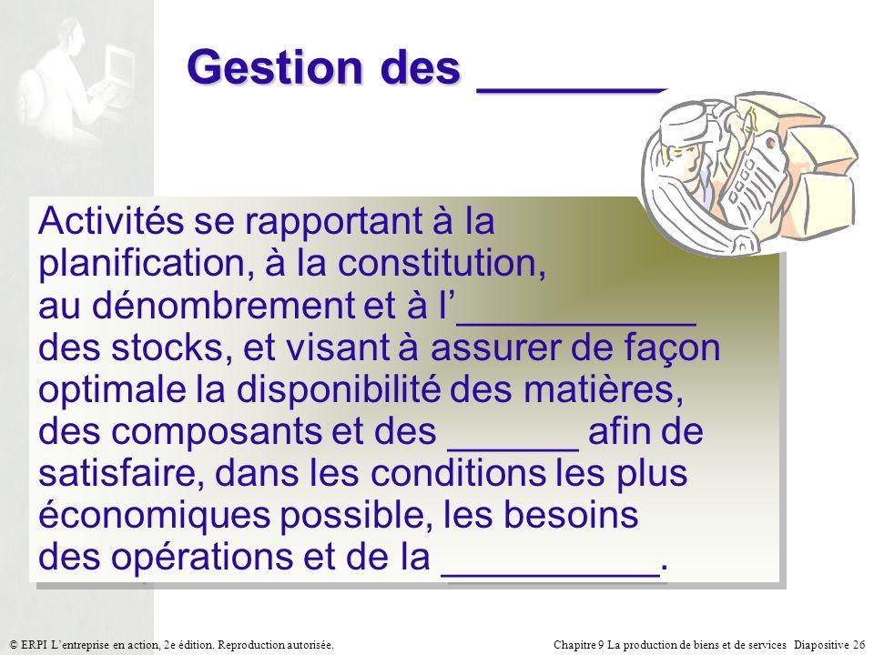 Gestion des ________