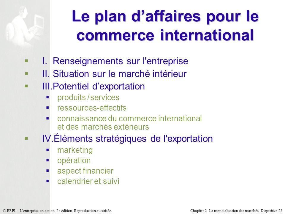 Le plan d'affaires pour le commerce international