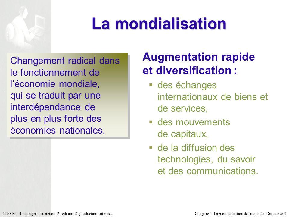 La mondialisation Augmentation rapide et diversification :