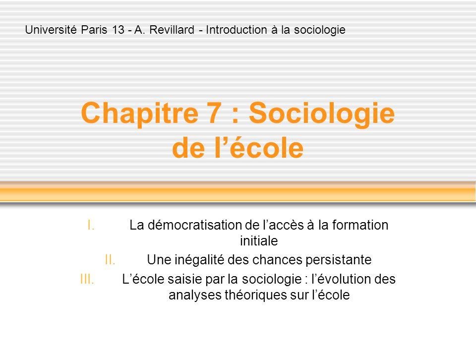Chapitre 7 : Sociologie de l'école