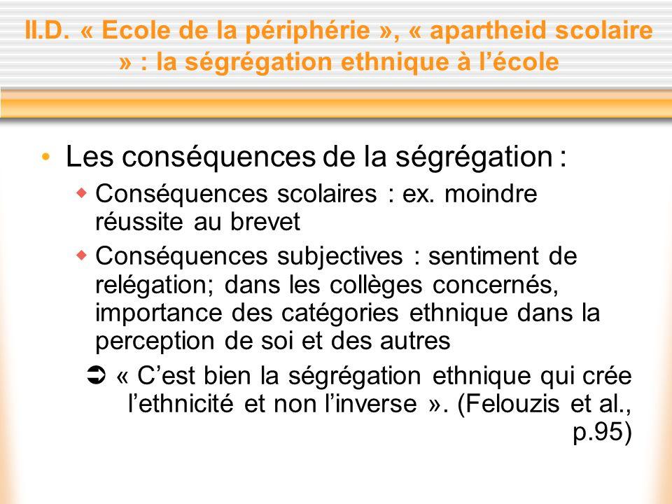 Les conséquences de la ségrégation :
