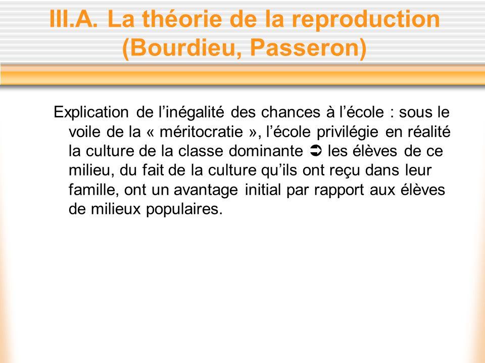 III.A. La théorie de la reproduction (Bourdieu, Passeron)