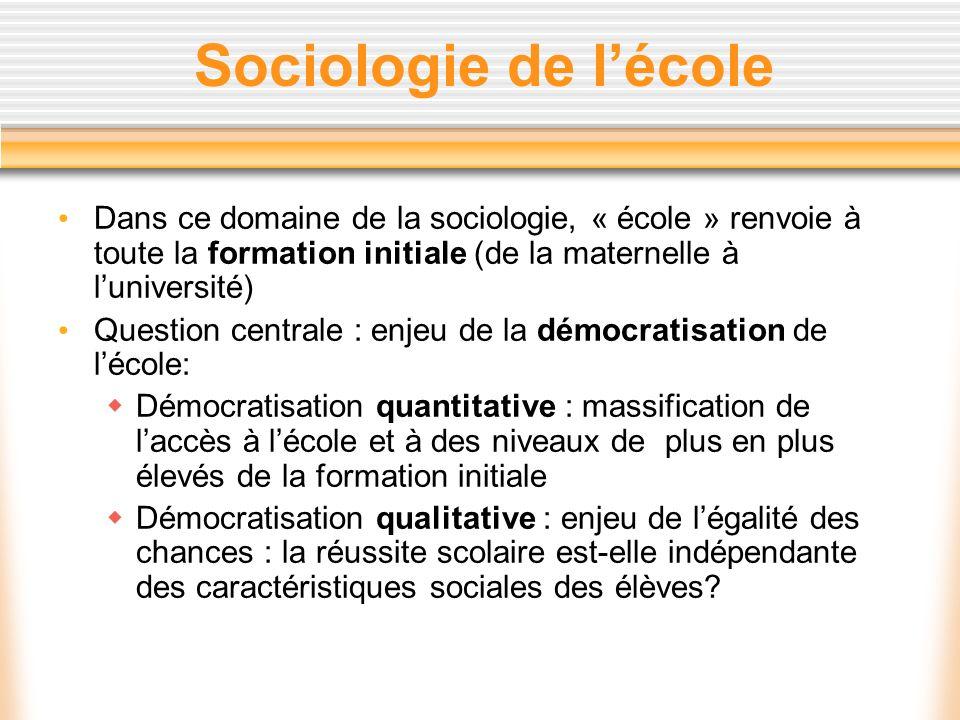Sociologie de l'écoleDans ce domaine de la sociologie, « école » renvoie à toute la formation initiale (de la maternelle à l'université)