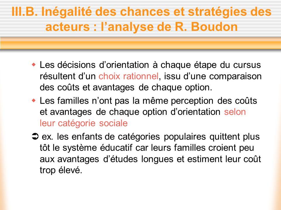 III.B. Inégalité des chances et stratégies des acteurs : l'analyse de R. Boudon