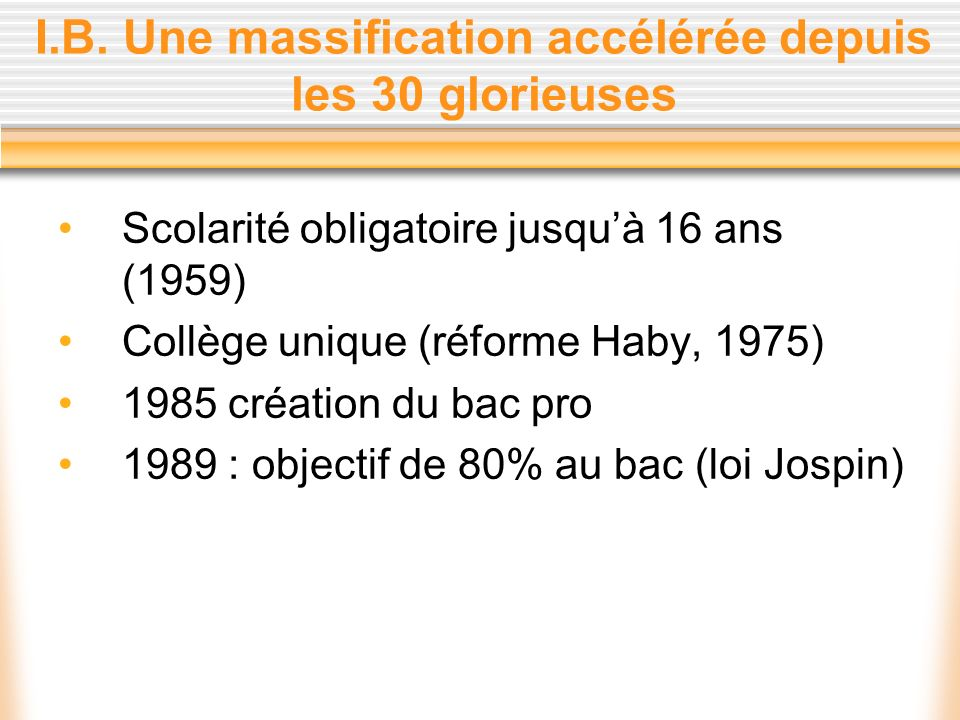 I.B. Une massification accélérée depuis les 30 glorieuses