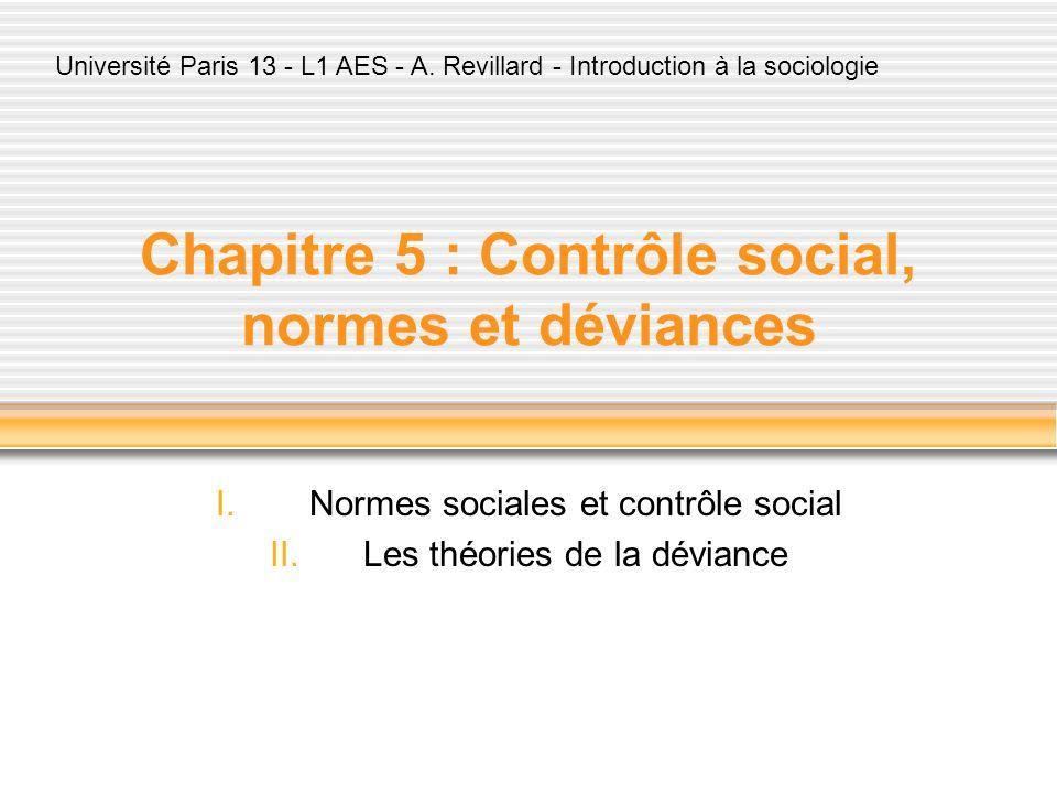 Chapitre 5 : Contrôle social, normes et déviances