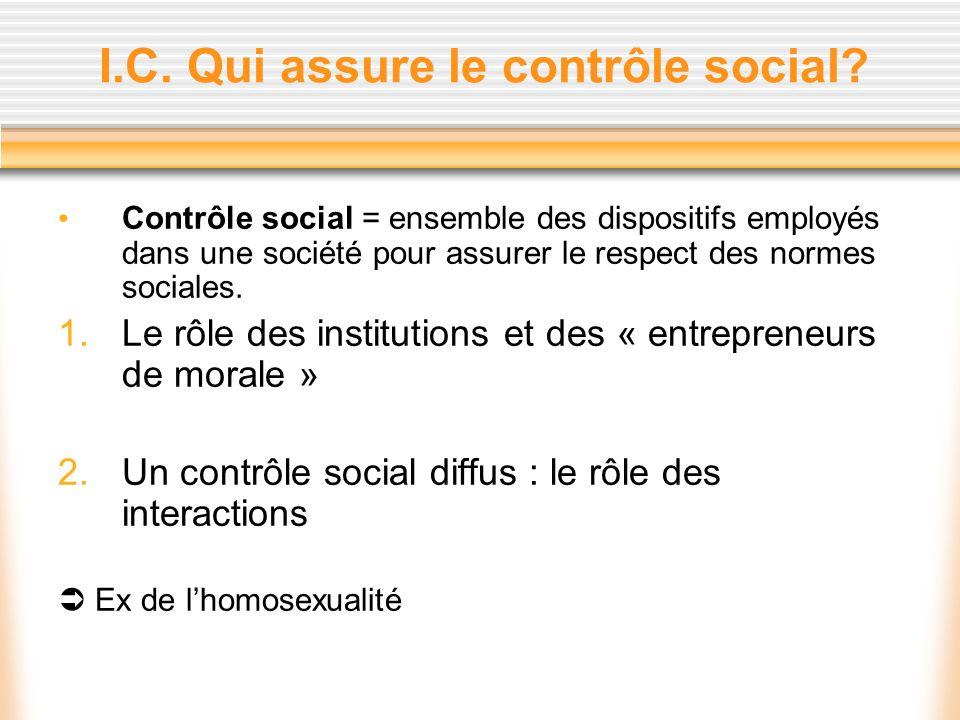 I.C. Qui assure le contrôle social