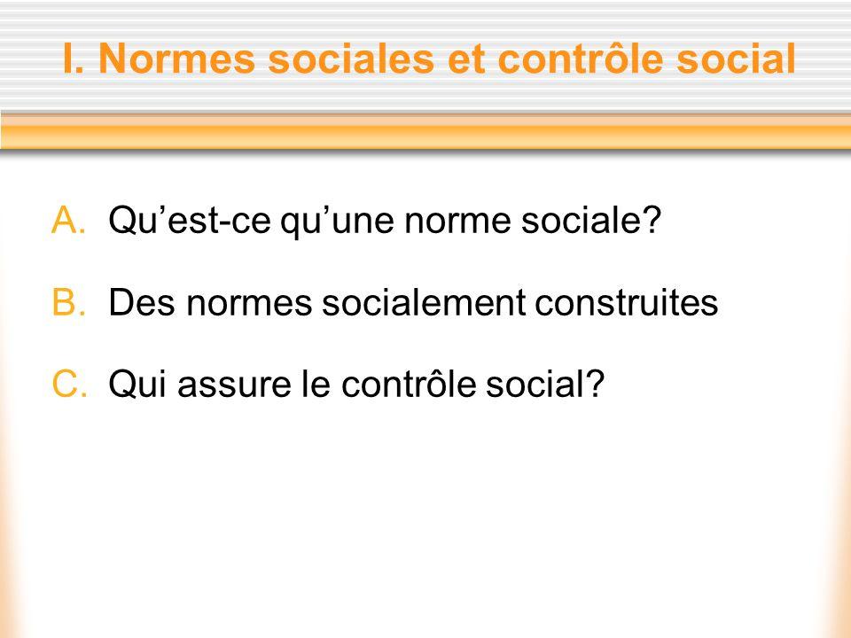 I. Normes sociales et contrôle social