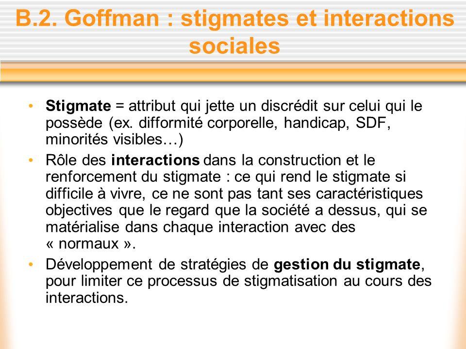 B.2. Goffman : stigmates et interactions sociales