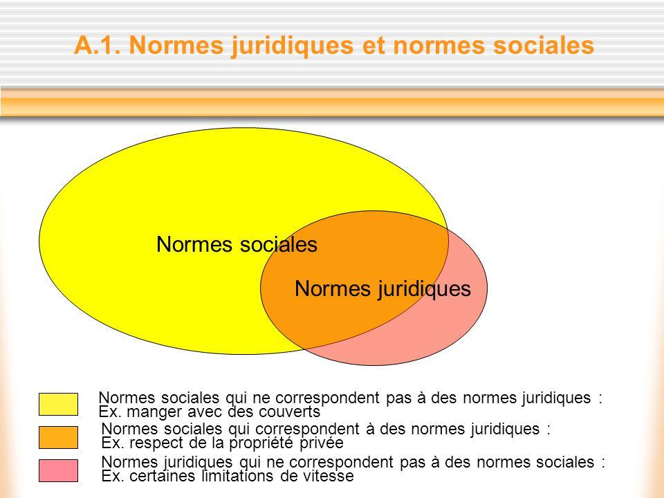 A.1. Normes juridiques et normes sociales