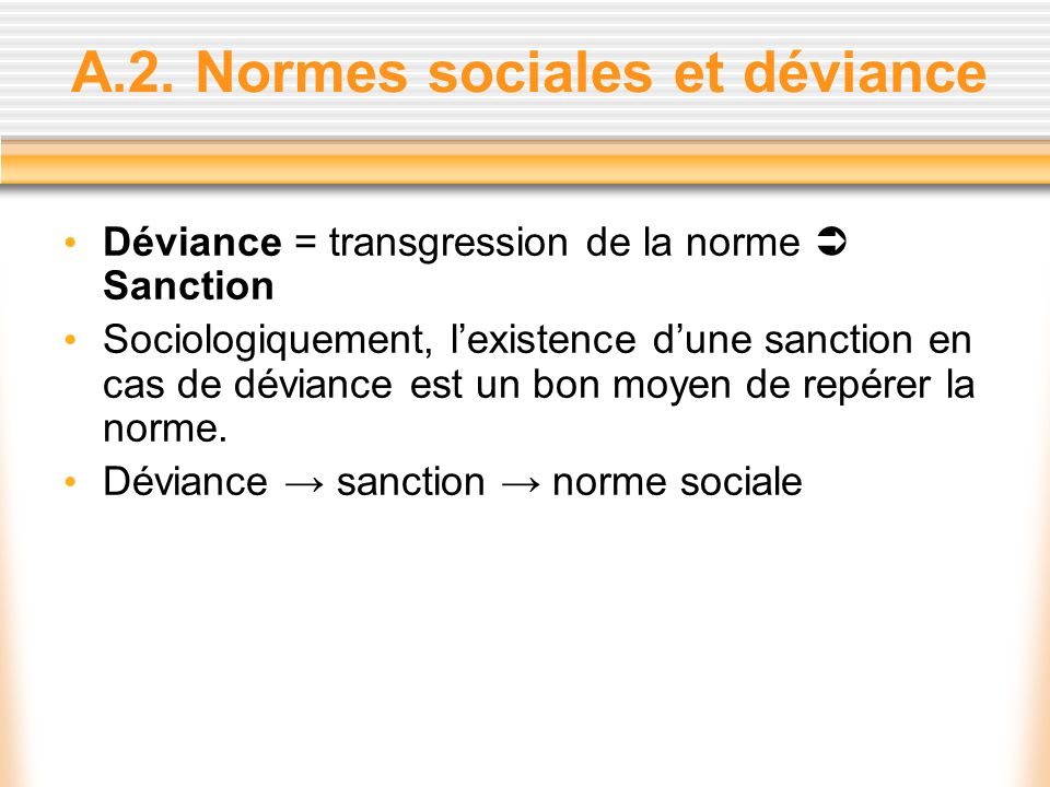 A.2. Normes sociales et déviance