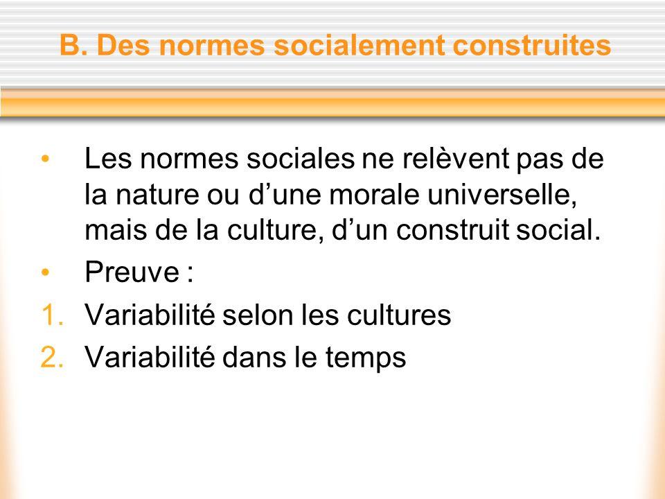 B. Des normes socialement construites