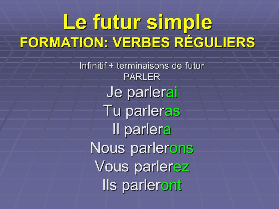 Le futur simple FORMATION: VERBES RÉGULIERS