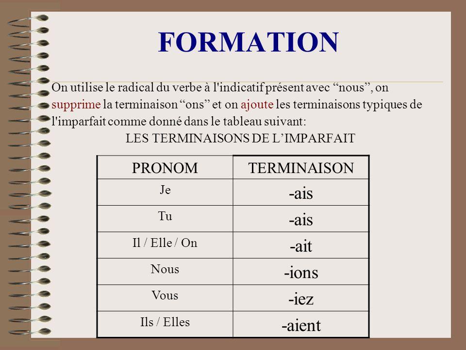 LES TERMINAISONS DE L'IMPARFAIT