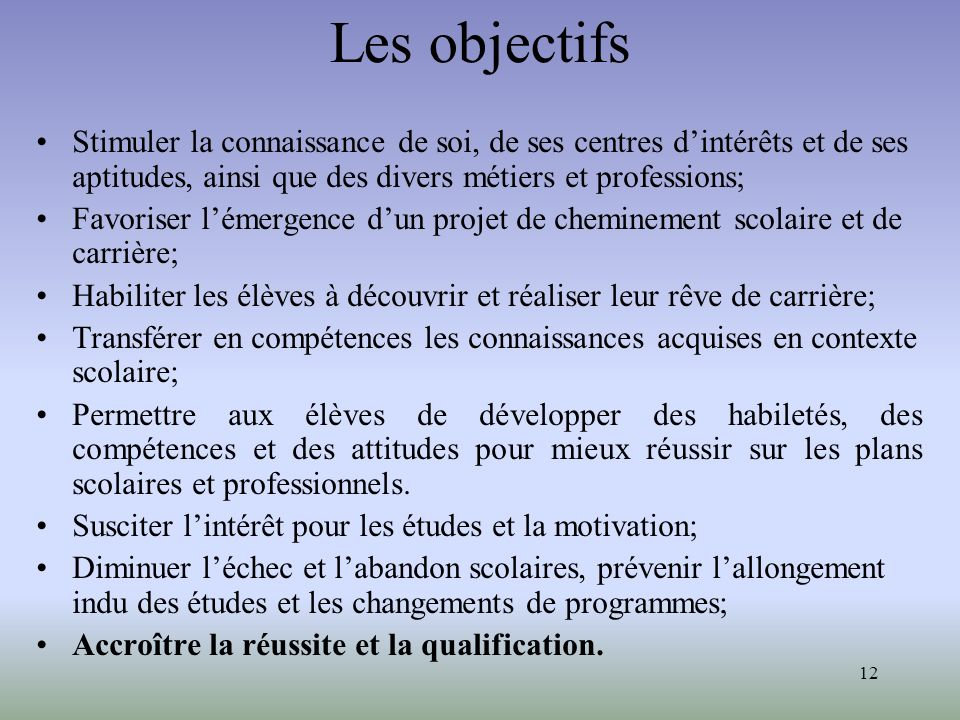 Les objectifs Stimuler la connaissance de soi, de ses centres d'intérêts et de ses aptitudes, ainsi que des divers métiers et professions;