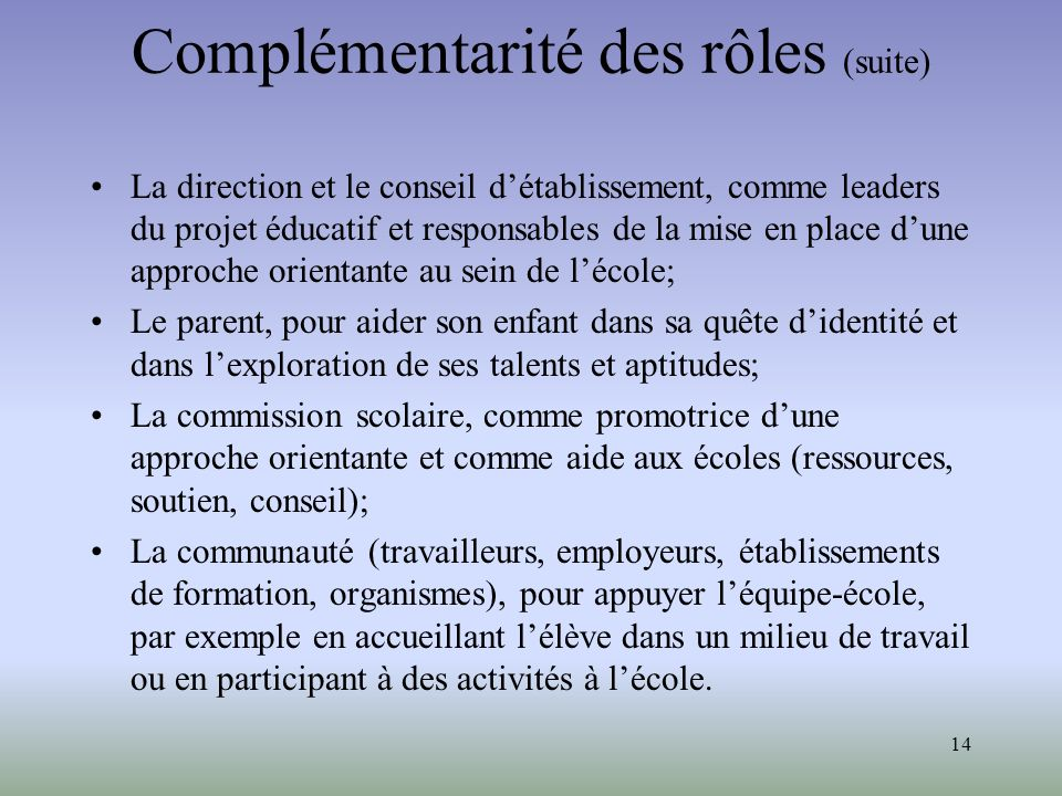 Complémentarité des rôles (suite)
