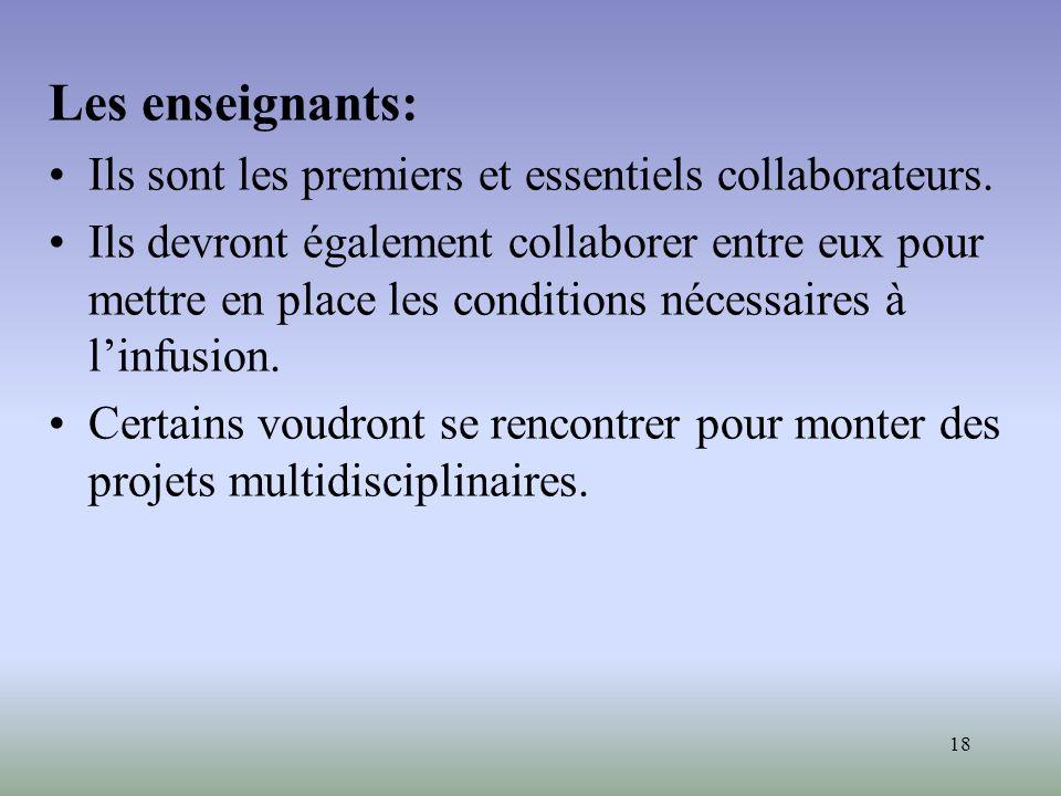 Les enseignants: Ils sont les premiers et essentiels collaborateurs.
