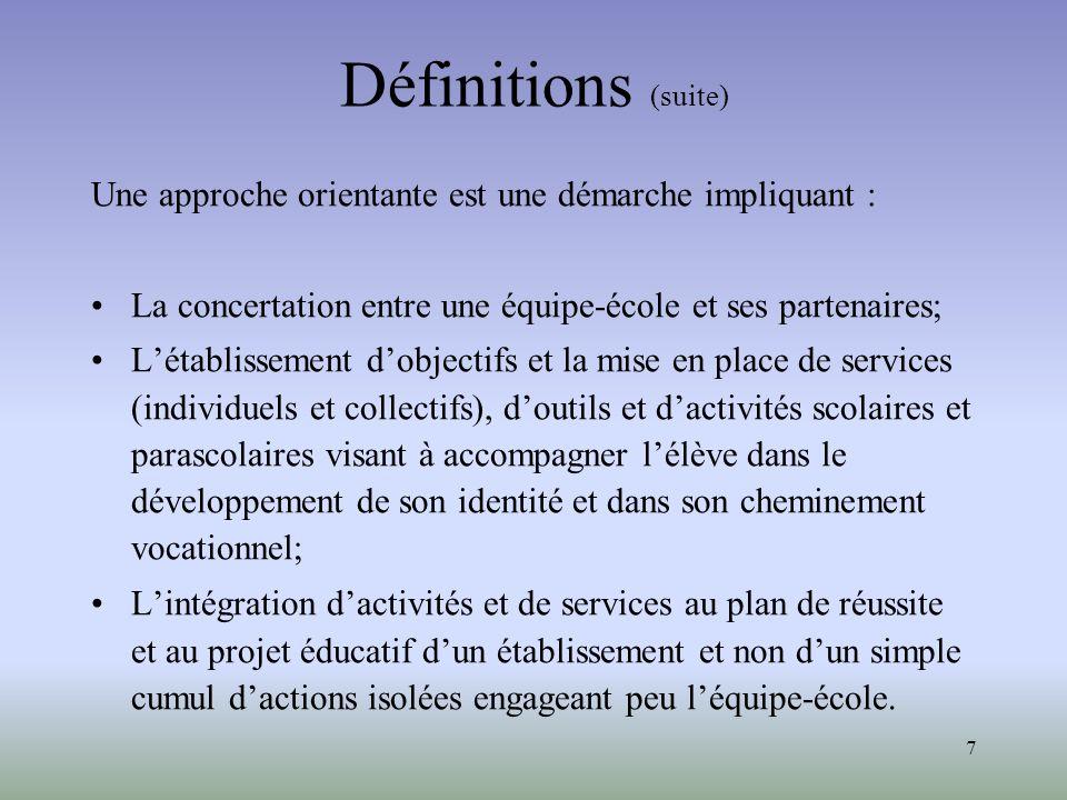 Définitions (suite) Une approche orientante est une démarche impliquant : La concertation entre une équipe-école et ses partenaires;