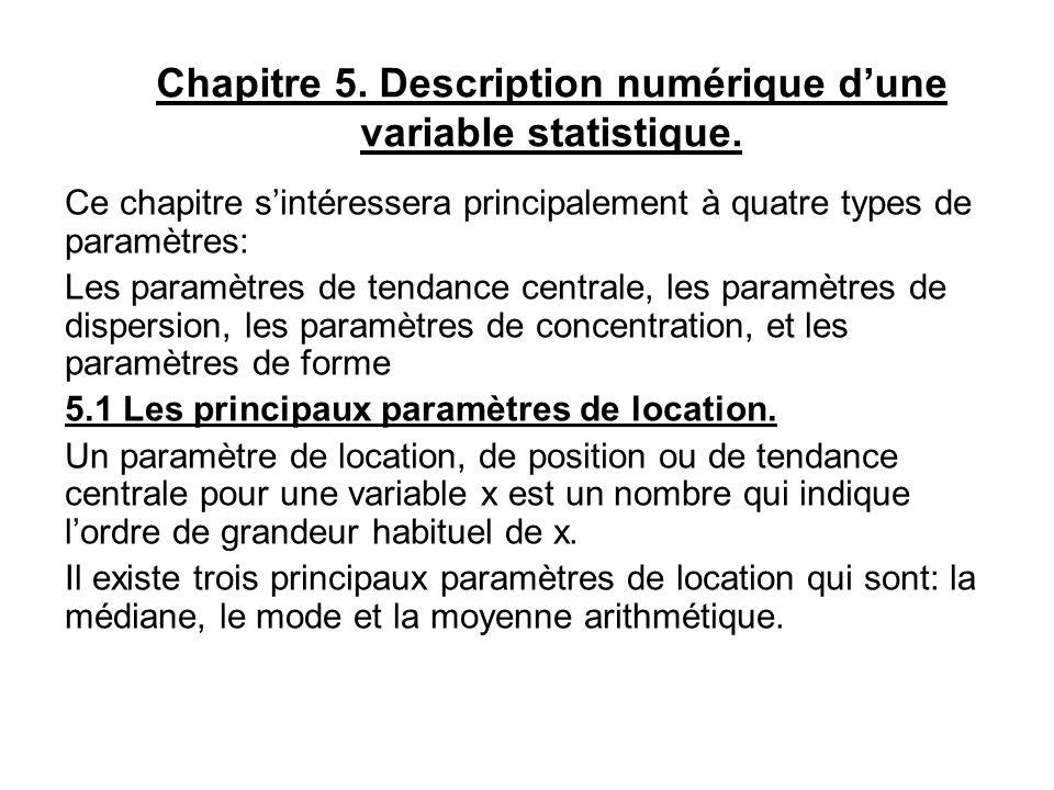 Chapitre 5. Description numérique d'une variable statistique.