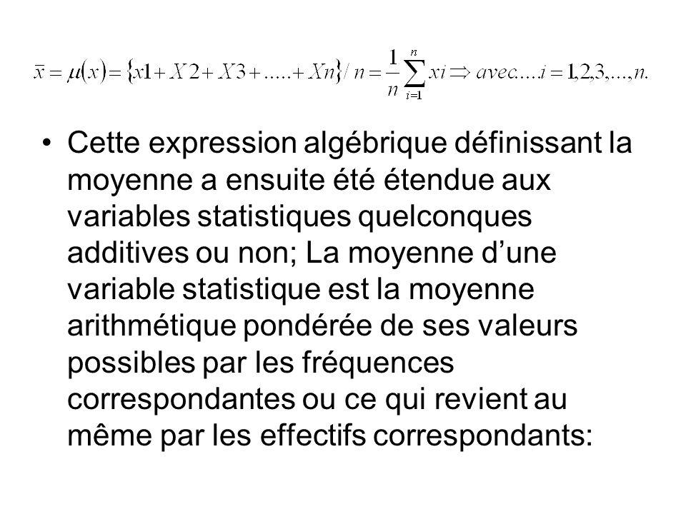 Cette expression algébrique définissant la moyenne a ensuite été étendue aux variables statistiques quelconques additives ou non; La moyenne d'une variable statistique est la moyenne arithmétique pondérée de ses valeurs possibles par les fréquences correspondantes ou ce qui revient au même par les effectifs correspondants: