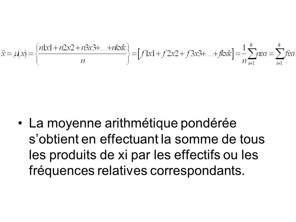 La moyenne arithmétique pondérée s'obtient en effectuant la somme de tous les produits de xi par les effectifs ou les fréquences relatives correspondants.
