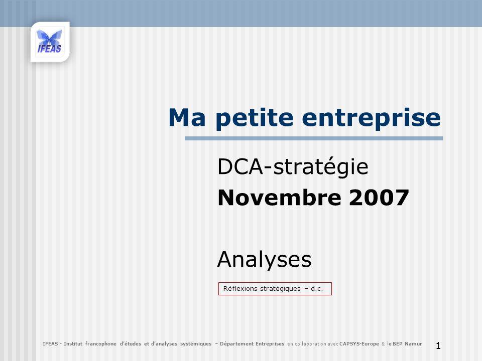 DCA-stratégie Novembre 2007 Analyses