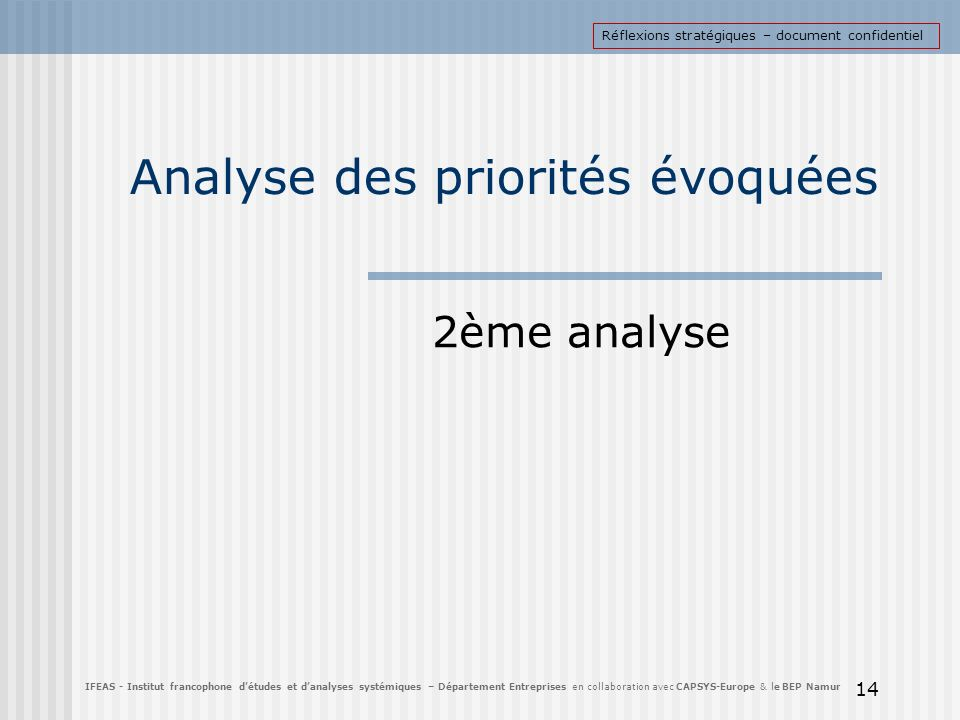 Analyse des priorités évoquées