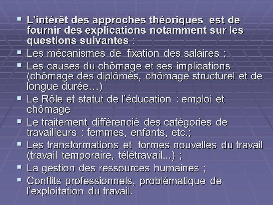 L intérêt des approches théoriques est de fournir des explications notamment sur les questions suivantes :