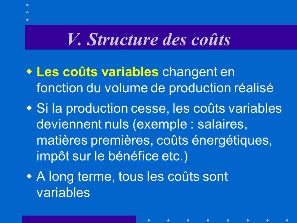 V. Structure des coûts Les coûts variables changent en fonction du volume de production réalisé.