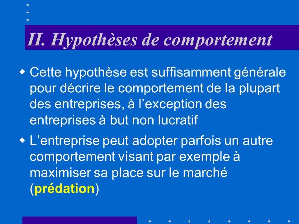 II. Hypothèses de comportement