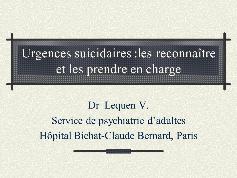 Urgences suicidaires :les reconnaître et les prendre en charge