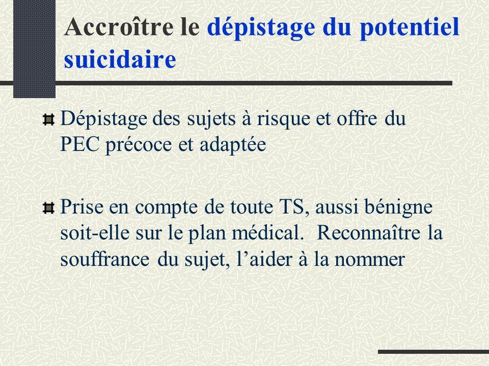 Accroître le dépistage du potentiel suicidaire