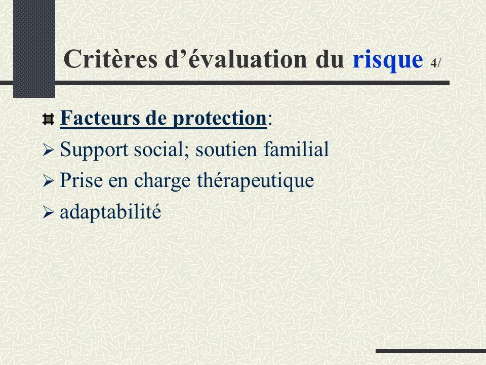 Critères d'évaluation du risque 4/