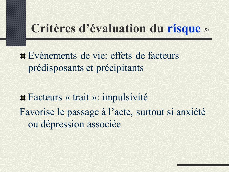 Critères d'évaluation du risque 5/