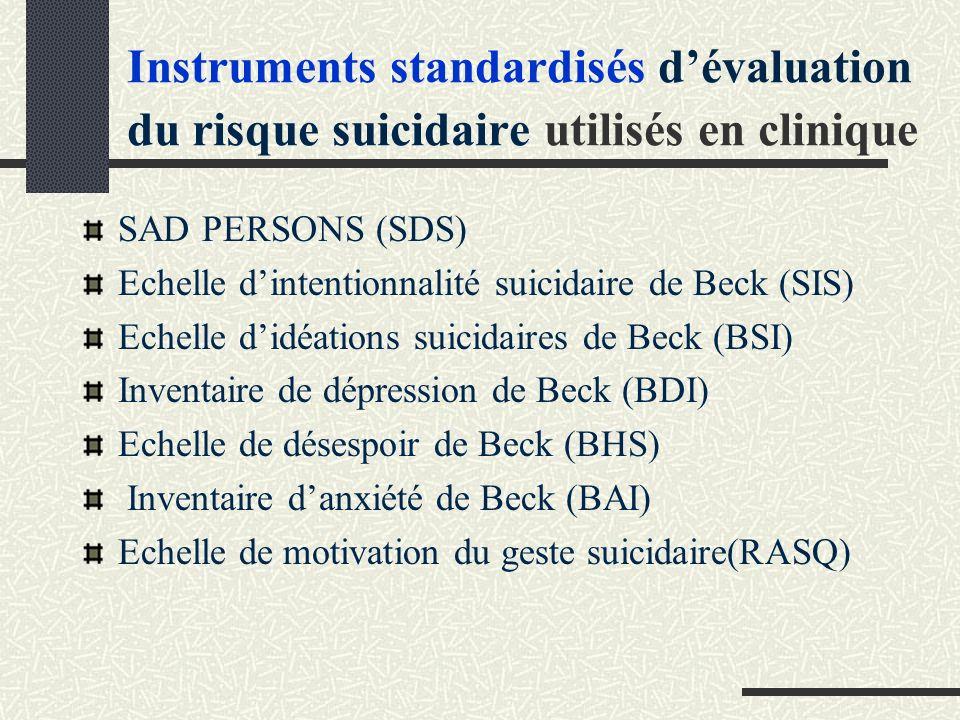 Instruments standardisés d'évaluation du risque suicidaire utilisés en clinique
