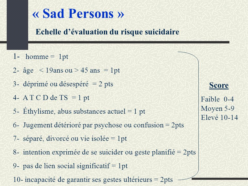 « Sad Persons » Echelle d'évaluation du risque suicidaire