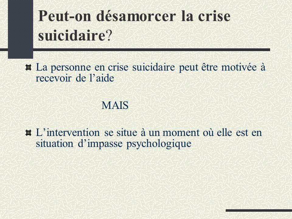 Peut-on désamorcer la crise suicidaire